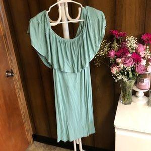 Mint Off the Shoulder Dress